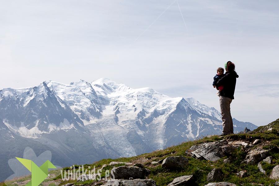 Alpes con niños. Mont Blanc desde la Flegere