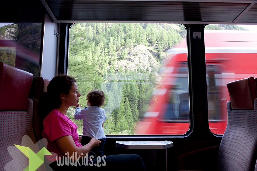 Zermatt con niños. Tren de Täsh a Zermatt, la unica forma de llegar a Zermatt, además del taxi eléctrico y el helicoptero