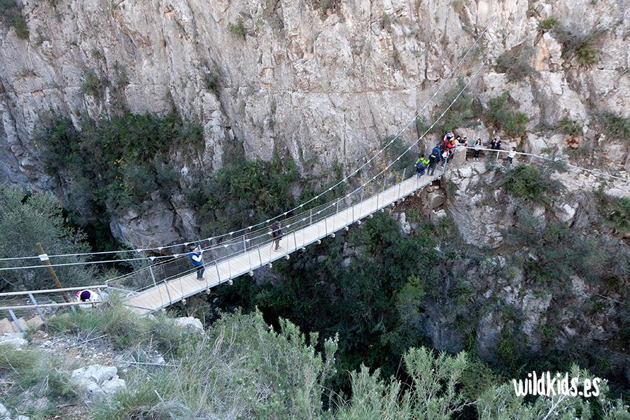 El primero de los puentes colgantes sobre el Turia